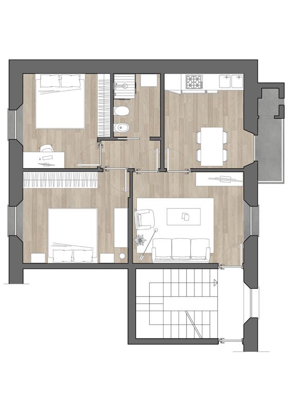 Progetto appartamento 65 mq confortevole soggiorno nella for Ristrutturare appartamento 75 mq